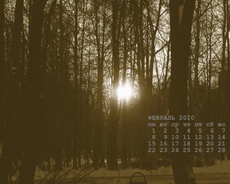 обои-календарь на февраль 2010