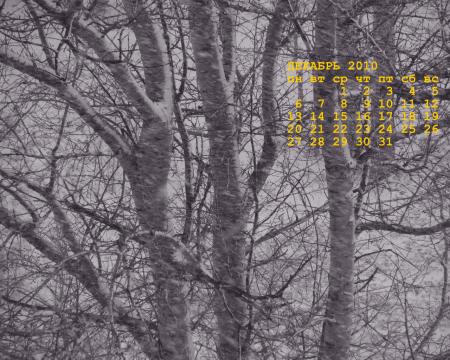календарь декабрь 2010