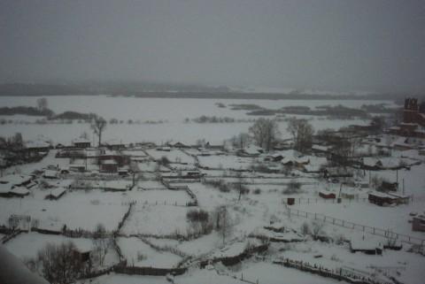 деревенские дома зимой