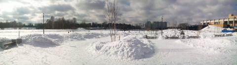 зимняя панорама набережной реки Яузы