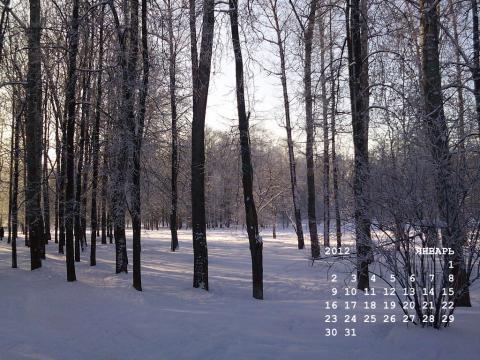 календарь на январь 2012 года