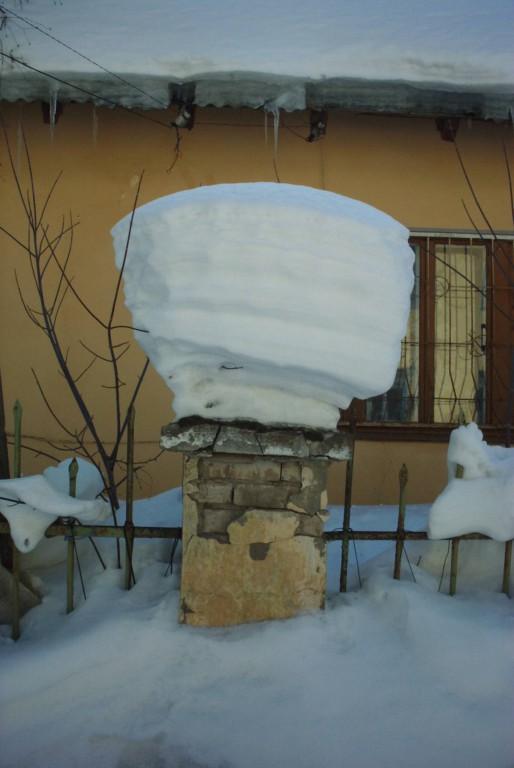 шапка снега на столбе